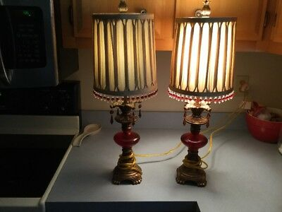 Pair Of Vintage Lamps With Red Prisms Very Nice Shades