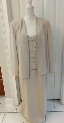 R&M RICHARDS lite tan Maxi Mother of the Bride Evening Beaded Dress 16
