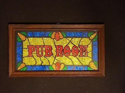 Vintage Pub Room Bar Sign Wall Hanging Foil W Stained Gl Look 7