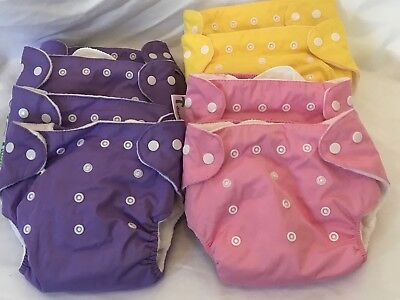Lot of 8 T diapers - One Size Pocket Cloth Diaper & Insert - PURPLE/YELLOW/PINK