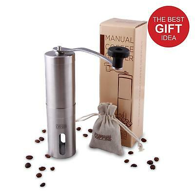 DH2 Manual Coffee Grinder with Ceramic Burrs Brushed Stainless Steel FDA Appr...