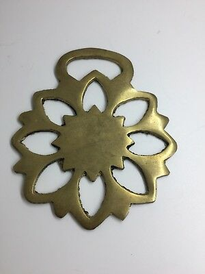 Brass Horse Medallion Gold Tone Flower Ornament