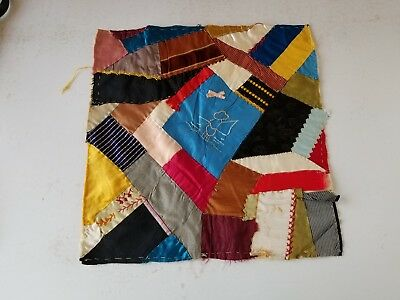 Crazy Quilt Block  Early Crazy Quilt~`embroidery~Fisherman Silk ~Feedsack Back