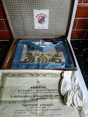 Rare Job Lot Assorted Vintage MASONIC Regalia, 8 original certificates in Greek