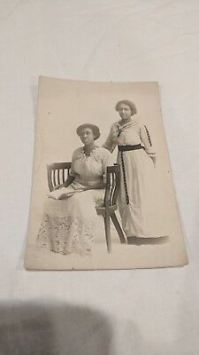 Antique Vintage Photograph African American 2 Sisters Fancy Dressed Americana
