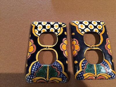 Talavera Mexican Pottery wall plate  double outlet cover multi color