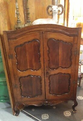 Beautiful Antique Early 18Th Century Two Door Dutch Corner Cabinet Cupboard