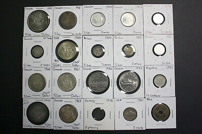 Lot of 20 Canadian and Various Silver and Old Coins!