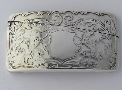 Antique, Very Rare Sterling Silver Curved Card Case With 2 Lions Facing Backward