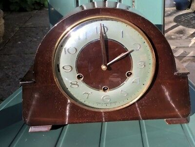 WORKING  VINTAGE SMITHS CHIMING MANTLE CLOCK  WITH KEY (Green face)