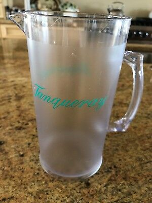 """Vtg Tanqueray English Gin Cocktail Pitcher Bar ware 1994 7"""" Plastic Frosted"""