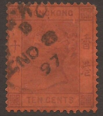 HONG KONG QUEEN VICTORIA 10 Cents Red Used, Postmarked 1897 (JB4594)
