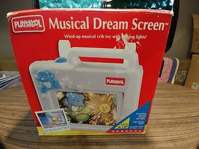 New 1990 Playskool MUSICAL DREAM SCREEN Wind Up Infant Crib Soother Toy RARE
