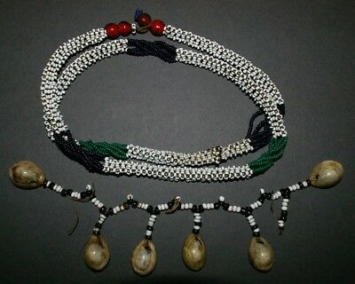 A South African Beaded Necklace And Cowrie Shell And Beaded Length.