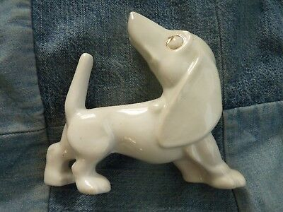 Adorable Vintage Dachshund dog porcelain figurine No Label white gold stylized