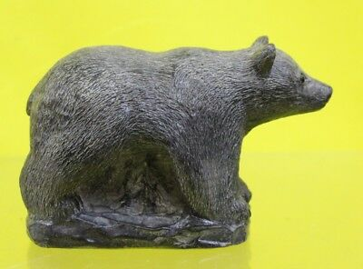 Hand Sculpted Inuit Soapstone Canadian Bear 'WE WOLF SCULPTURE' #DAC