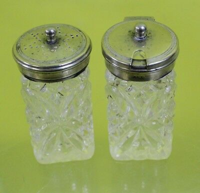EPNS Glass Salt & Pepper Shakers #DAC