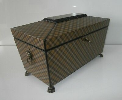 Antique Scottish Tartan Ware Scarce  'Stuart Camel Clan' Tea Caddy c1860-80