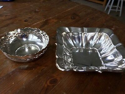 2  Vintage DECORATIVE Silver plated Square/Round Bowl/Dishes