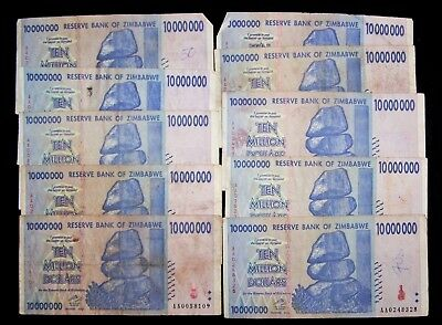 10 x Zimbabwe 10 Million Dollar banknotes-2008/AA-low grade/very used