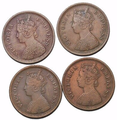 British India Queen Victoria group of 4 1/2 Pice 1890 1891 1885 1888