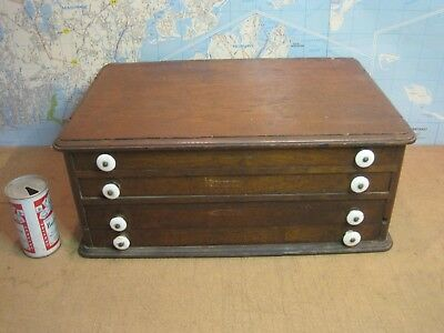 Antique Hard Wood Sewing Three Draw Spool Chest White Porcelain Pulls
