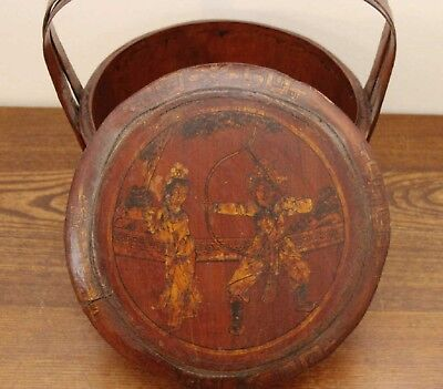 Antique Chinese Ornate Wooden Wedding Basket Painted Birds Flowers Man Woman