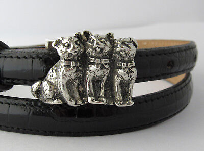 Sterling Silver 3 Little Kitties Kitty Cats Buckle On Genuine Leather Strap