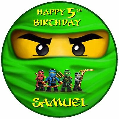 75 Green Lego Ninjago Birthday Edible Personalised Cake Topper