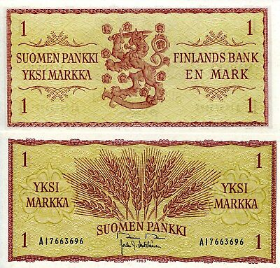 FINLAND 1 Markaa Banknote World Paper Money UNC Currency Pick p98 1963 Note Bill