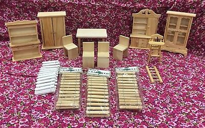 Dollhouse Lot Miniature Furniture Unfinished Wood handmade Hutch Armoire Table
