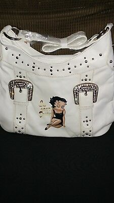 NOS 2007 Betty Boop Hobo Purse Handbag white with studds and rhinestones.