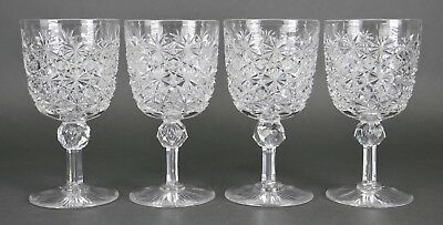Fine Antique AMERICAN BRILLIANT Cut Crystal ABP Wine Goblet Set Of 4 19th 19th B