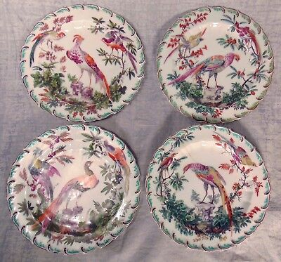"""4 18thC English Chelsea Gold Anchor Porcelain Cabinet Plates Exotic Bird 10"""""""
