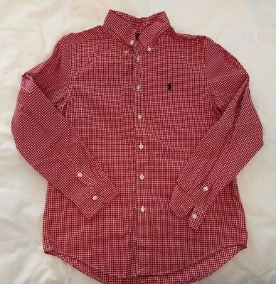"""Ralph Lauren Youth L (14-16)  Red/white """"checkered"""" L/s Button Shirt"""