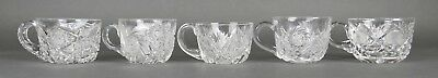 Fine Antique AMERICAN BRILLIANT Cut Crystal ABP 5 Mixed Punch Cups 19th Century