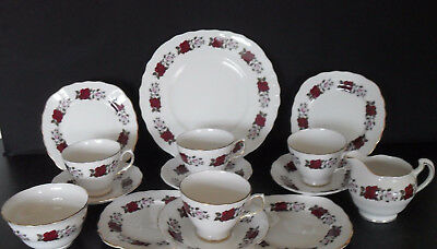 Royal Vale 7975 English Bone China Tea Set Service Rose Pattern Vintage Retro