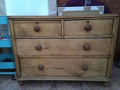 solid antique pine chest of drawers