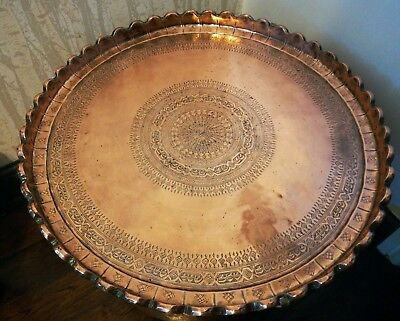 Large heavy antique persian islamic middle East Arabic copper tray charger