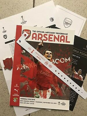 Arsenal V Vorskla Poltava Europa League Programme 20/09/18 & Team Sheet & Badge