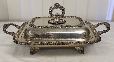 Vintage Silver Plate on Copper Chafing Serving Dish Ornate Vines Footed Lidded