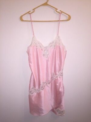 Victoria's Secret Silk Pink and White Floral Women's Lingerie Teddie Sz Medium