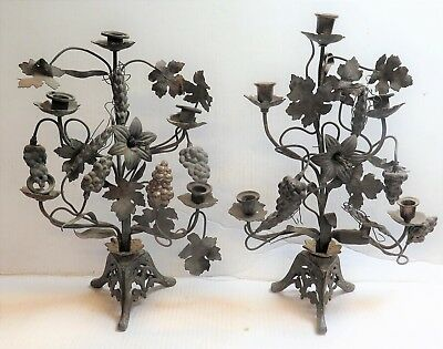 Antique Mexican Brass Folk Art Pair of Candle Holders, Candelabra