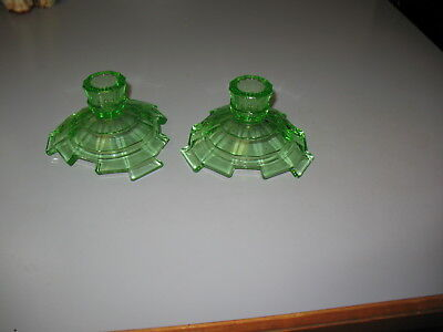 Great Indiana Glass Depression  GREEN TEA ROOM CANDLESTICKS, HOLDERS - PAIR