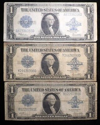Lot of 3  1923  $1 Dollar Silver Certificates   Circulated