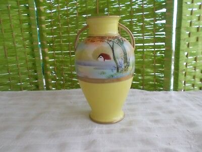 "Morimura Bros Nippon 6.25"" Vase Yellow Hand Painted House Lake Double Handled"