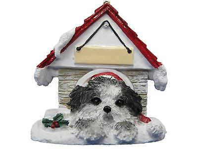 Shih Tzu Puppycut, Black & White Ornament  Hand Painted