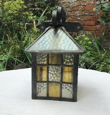 Arts and Crafts leaded stained glass porch light - restoration project