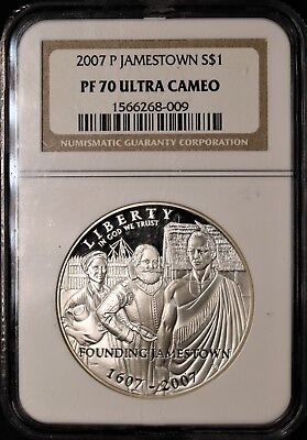 2007-P Jamestown Silver Dollar - NGC PF70 Ultra Cameo - PERFECT PROOF - #268-009