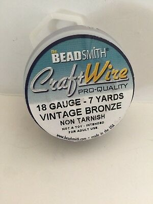 BeadSmith Antique Vintage Bronze Brass Color Copper Craft Wire 18 Gauge - 7 Yds